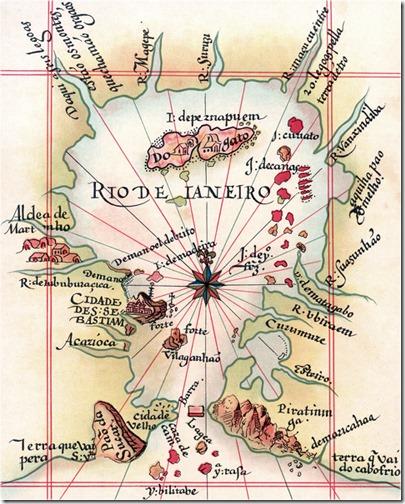 Baía do Rio de Janeiro e a Cidade de S. Sebastião, ca. 1574, Luís Teixeira.