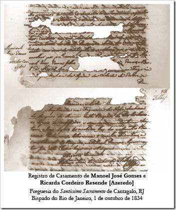 Registro de Casamento de Manoel José Gomes e Ricarda Cordeiro Resende [Azeredo]