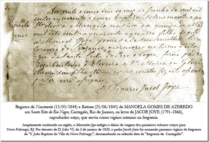 Registro de Nascimento e Batismo de Manoela Gomes de Azeredo