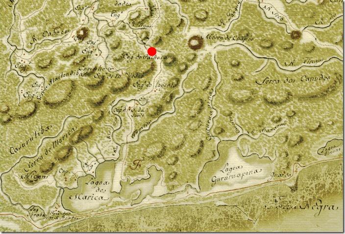 """Localização do """"Engenho do Pacheco"""", 1767. Recorte: Cartas Topográficas da capitania do Rio de Janeiro, Brasil, 1767, Manuel Vieira Leão (1727-1803)"""