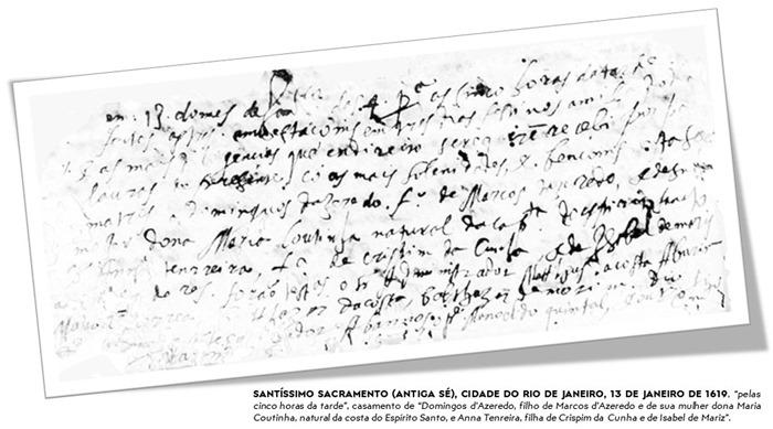 Registro Eclesiástico de Casamento de Domingos de Azeredo Coutinho e Melo e Ana Tenreiro da Cunha, em 13 de janeiro de 1619.